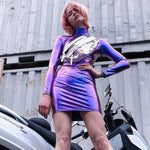 Sliver Club Party Short Dress Solid Purple Wet Look Latex Bodycon Faux Leather Push Up Bra Mini Micro Dress Leotard - Hplify