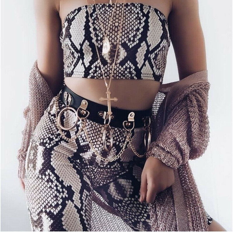 The Best Snake Skin Print Two Piece Set Womens Shinny Tube Top Shorts Online - Hplify