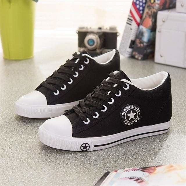 Sneakers Wedges Canvas Shoes Women Casual Shoes - black / 4 - Shoes
