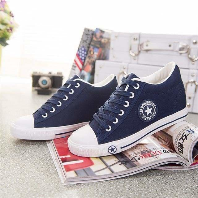 Sneakers Wedges Canvas Shoes Women Casual Shoes - deep blue / 4 - Shoes