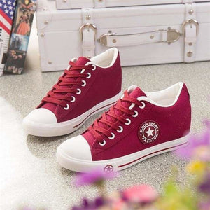 Sneakers Wedges Canvas Shoes Women Casual Shoes - red / 4 - Shoes