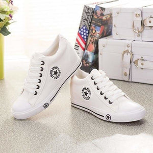Sneakers Wedges Canvas Shoes Women Casual Shoes - white / 4 - Shoes