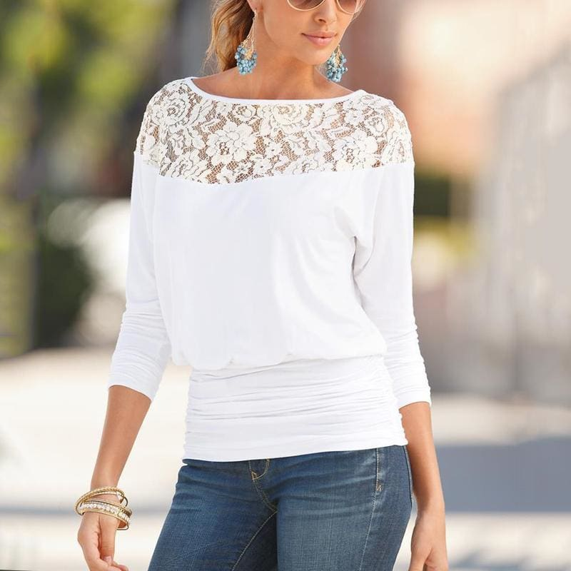 The Best Solid Blouse Women Loose Lace Shirt Blouse Blusa Feminina Shirt Top Plus Size Online - Source Silk