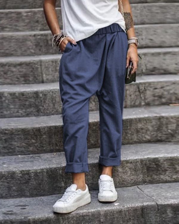 The Best Solid Color Casual Pocket Elastic Waist Harem Pants Online - Hplify