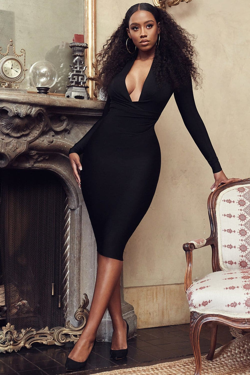The Best Solid Color Dress Long Sleeve Large V-neck Bandage Dress Online - Hplify