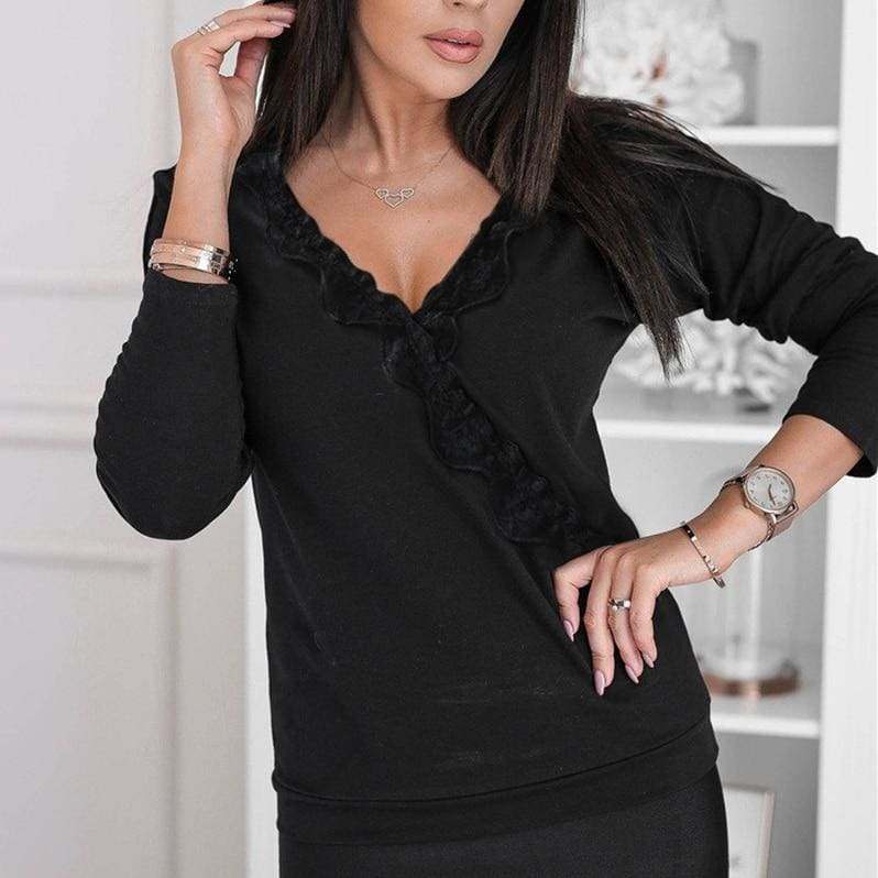 The Best Solid Simple Loose Long Sleeve Blouse Top Solid V-neck Baggy Casual Tee Shirt Streetwear Online - Source Silk