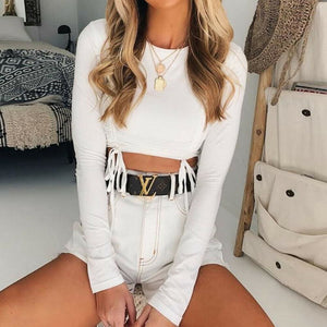 Buy Cheap Solid Tank Top Ladies Long Sleeve Crop Top Shirt Cami Top Workout Fitness Outwear Online - Hplify