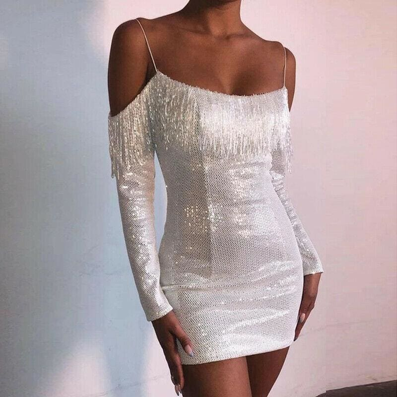 The Best Strap Tassel Sequins Dress Party Clubwear Mini Dresses Ladies Off Shoulder Dress Vestido Online - Hplify