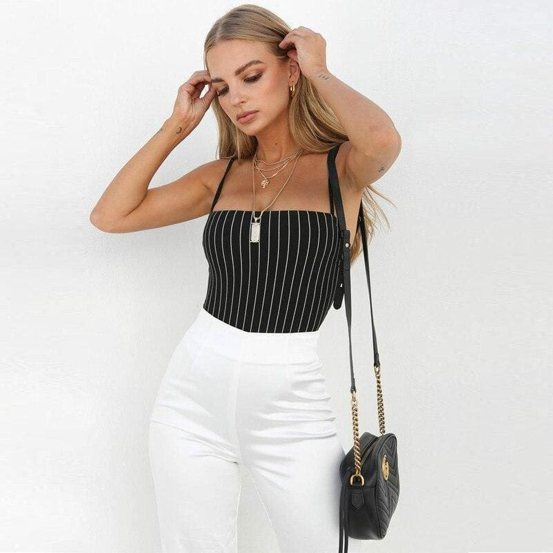 The Best Straps stripe slash neck backless bodycon bodysuit summer women Online - Source Silk