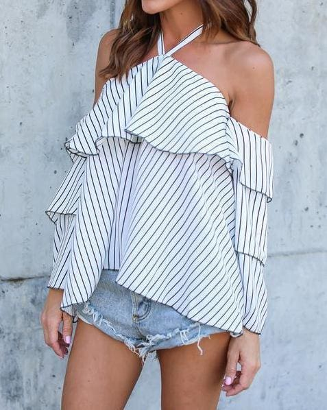 Stripe Halter Ruffle Design Cold Shoulder Bell Sleeves Tops - Womens Tops