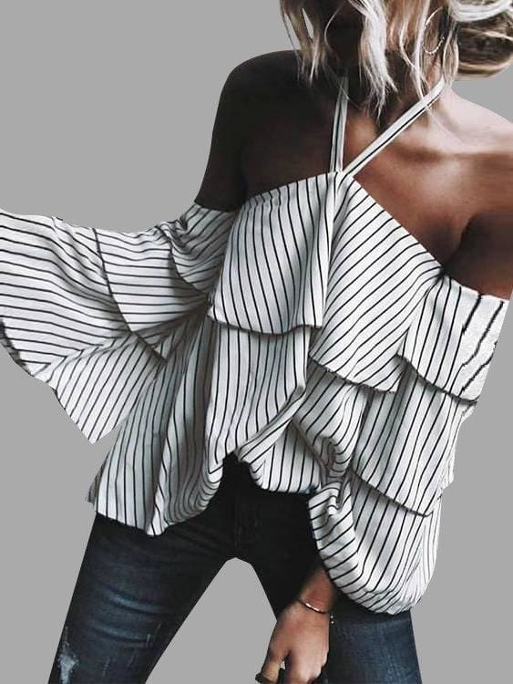 The Best Stripe Halter Ruffle Design Cold Shoulder Bell Sleeves Tops Online - Hplify