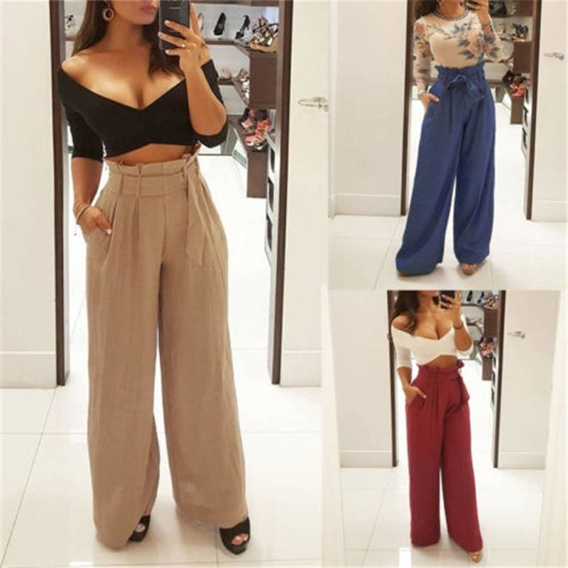 Buy Cheap Style Fashion Women's Loose Stretch High Waist Wide Leg Long Pants Online - Hplify