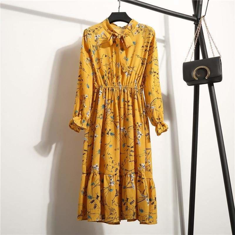 The Best Summer Autumn Chiffon Print Dress floral Long Bowknot Dresses Online - Source Silk