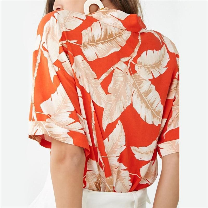 Summer Blouse Women Short Sleeve Blouse Casual Print Tops Shirt - Womens Tops
