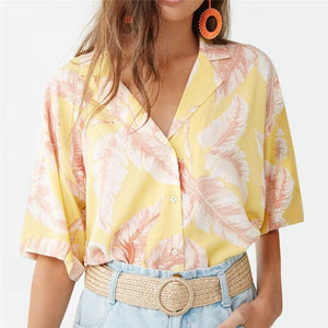 Summer Blouse Women Short Sleeve Blouse Casual Print Tops Shirt - Yellow / L - Womens Tops