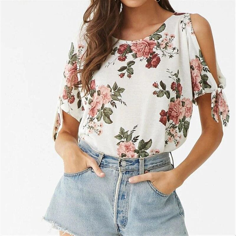 The Best Summer Casual T Shirt Women Off Shoulder Short Sleeve Tunic Bow Tops Online - Hplify