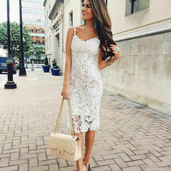 The Best Summer Dress Ladies Holiday Party Sleeveless Bodycon Sexy Short Mini Lace Sundress Online - Hplify