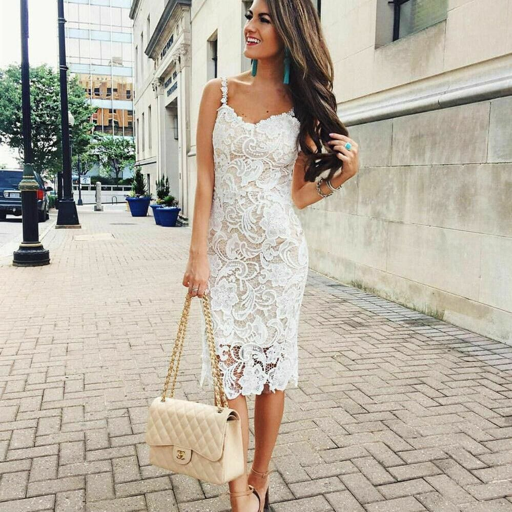 The Best Summer Dress Ladies Holiday Party Sleeveless Bodycon Sexy Short Mini Lace Sundress Online - Source Silk