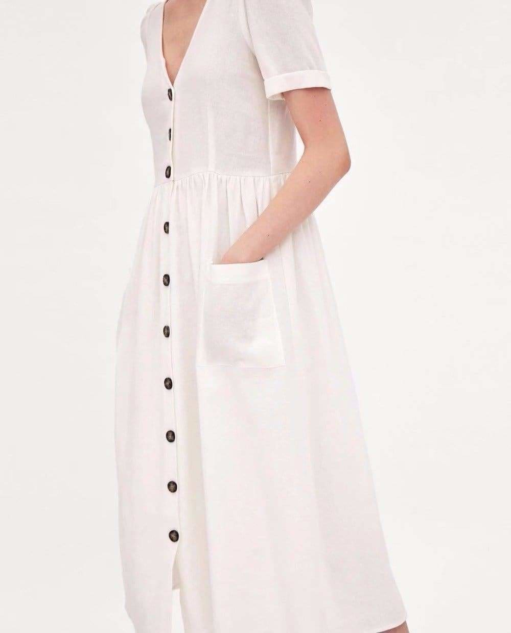 The Best Summer Dress Vestidos Straight Pockets Button Mid-Calf V-Neck Tops Online - Source Silk
