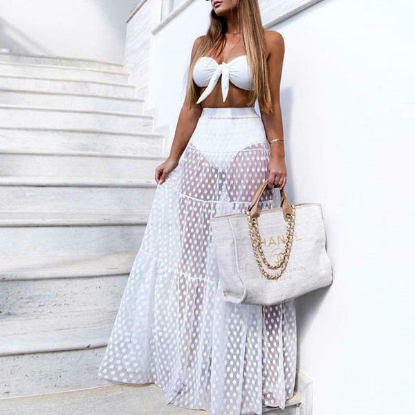 The Best Summer Holiday Women Mesh See-Through High Waist Long Maxi Polka Dots Skirt Online - Hplify