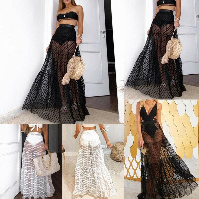 The Best Summer Holiday Women Mesh See-Through High Waist Long Maxi Polka Dots Skirt Online - Source Silk
