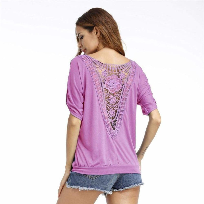 The Best Summer Lace Women Blouse Shirt Tops Tees Shirt O-Neck Loose Plus Size Online - Hplify