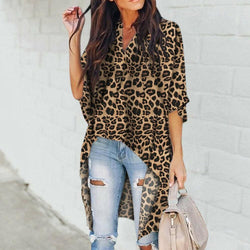 The Best Summer Leopard Print Chiffon Half Sleeve Casual Shirt Tops Blouse Online - Hplify