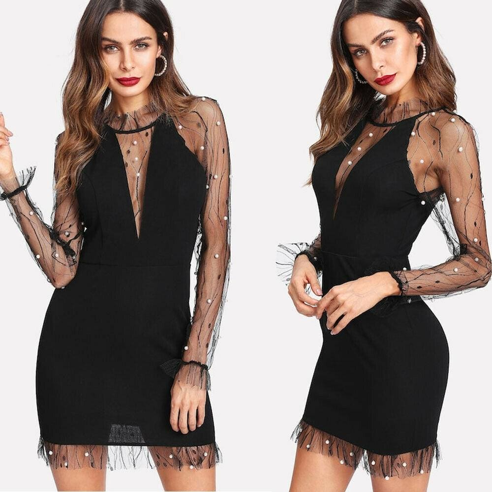 The Best Summer Pearl Vines Lightning Mesh Perspective Sexy Slim Dress Online - Source Silk
