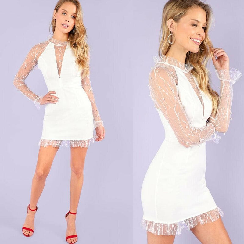 The Best Summer Pearl Vines Lightning Mesh Perspective Sexy Slim Dress Online - Hplify