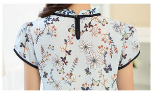 Buy Cheap Summer Print Chiffon Blouse Ruffle Collar Bow Neck Short Sleeve Tops Online - Hplify