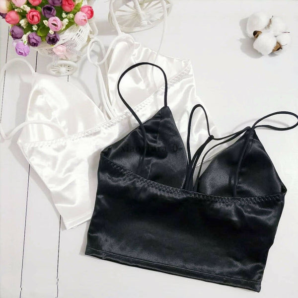 The Best Summer Satin Crop Tops Women Bralette Bustier Bra Vest Shirt V Neck Ladies Tops Online - Hplify