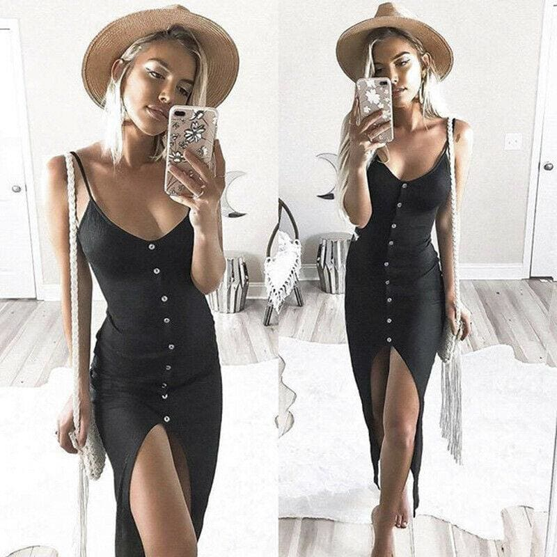 Summer Sexy Fashion Dress Women Ladies Summer Sleeveless V-Neck Skinny Solid Button High Waist Ankle-Length Dress - Dresses