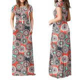 Buy Cheap Summer Short Sleeve Long Dress Floral Print Boho Beach Dress Tunic Maxi Dress Online - Hplify