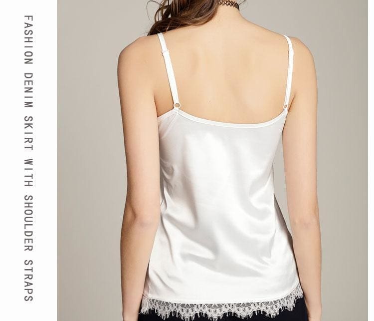 The Best Summer Silk Tank Top V Neck Womens  Lace Crop Tops Online - Hplify