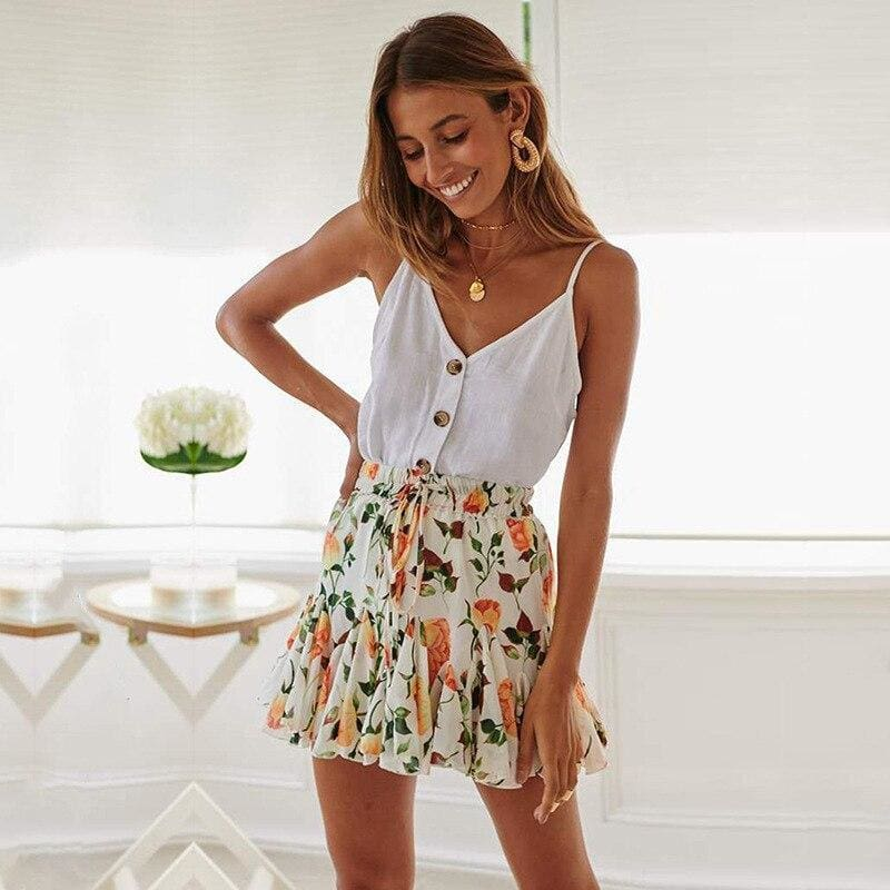 The Best Summer Simple White Fresh Sleeveless Camis Tank Top Vest Online - Source Silk
