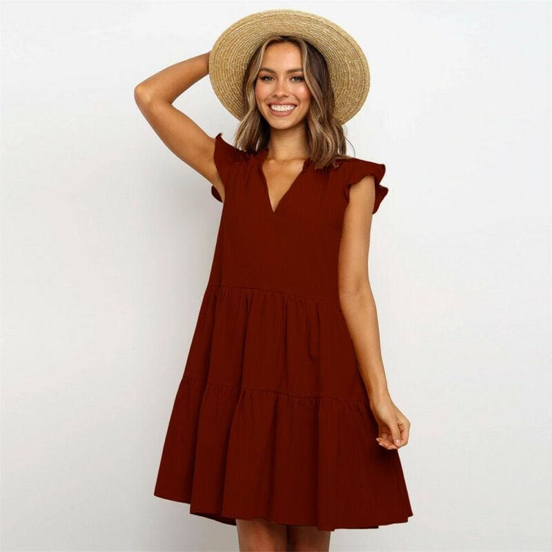 The Best Summer Smock Dress Tops Ladies Holiday Beach Casual Loose Shirt Sundress Online - Hplify
