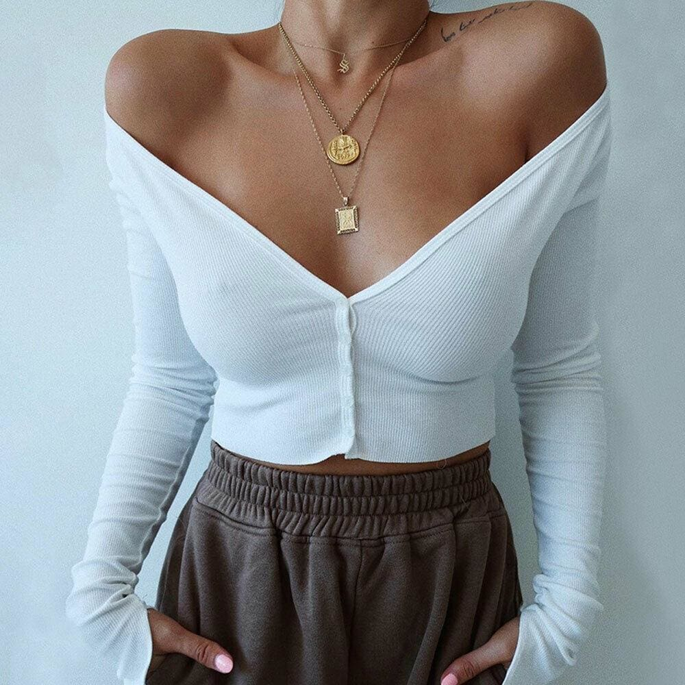 The Best Summer Solid Casual Tops Vest Blouse Long Sleeve Button Crop Shirt Online - Source Silk