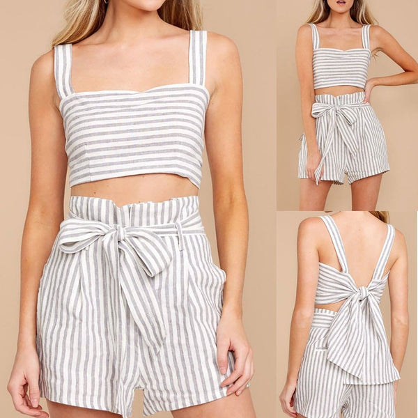 The Best Summer Strapless Top And Shorts 2 Pcs/set Online - Source Silk