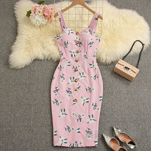 Buy Cheap Summer Strappy Floral Bodycon Dress Women Pencil Dresses Online - Hplify