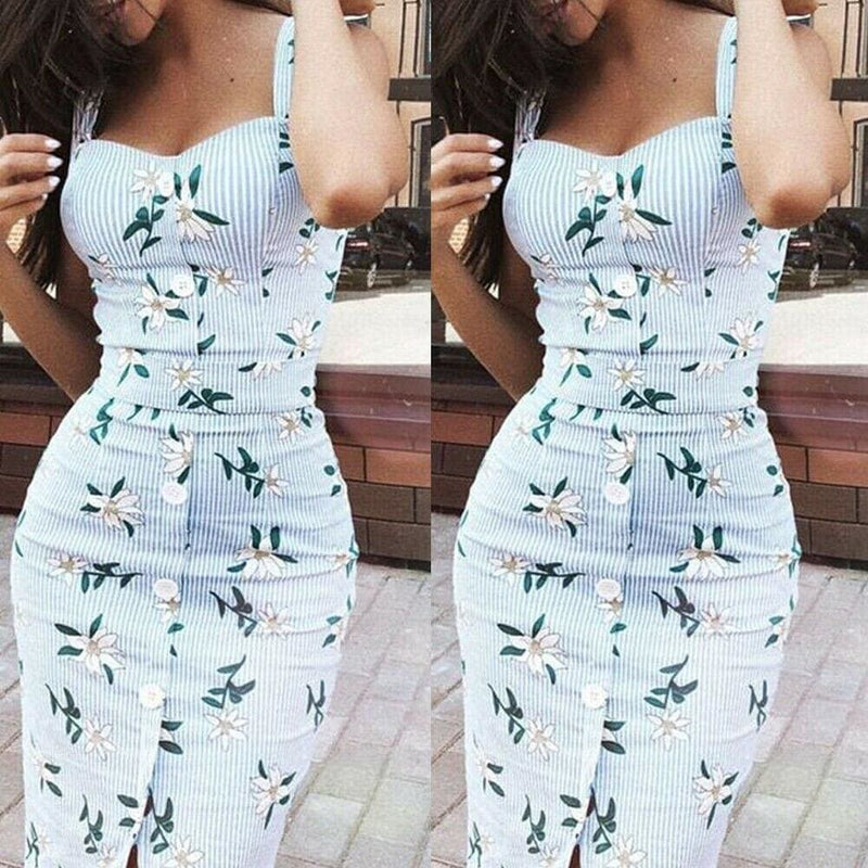 The Best Summer Strappy Floral Bodycon Dress Women Pencil Dresses Online - Source Silk