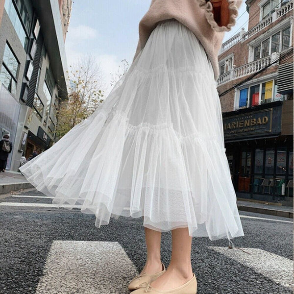 The Best Summer Women Elastic Mesh Tulle Pleated Skirt Ladies Casual Holiday A-Line High Waist Solid Long Maxi Skirt Online - Hplify
