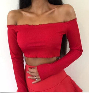 Summer Women Off Shoulder Tank Tops Slim Sleeve Off Shoulder Crop Tops - Womens Tops
