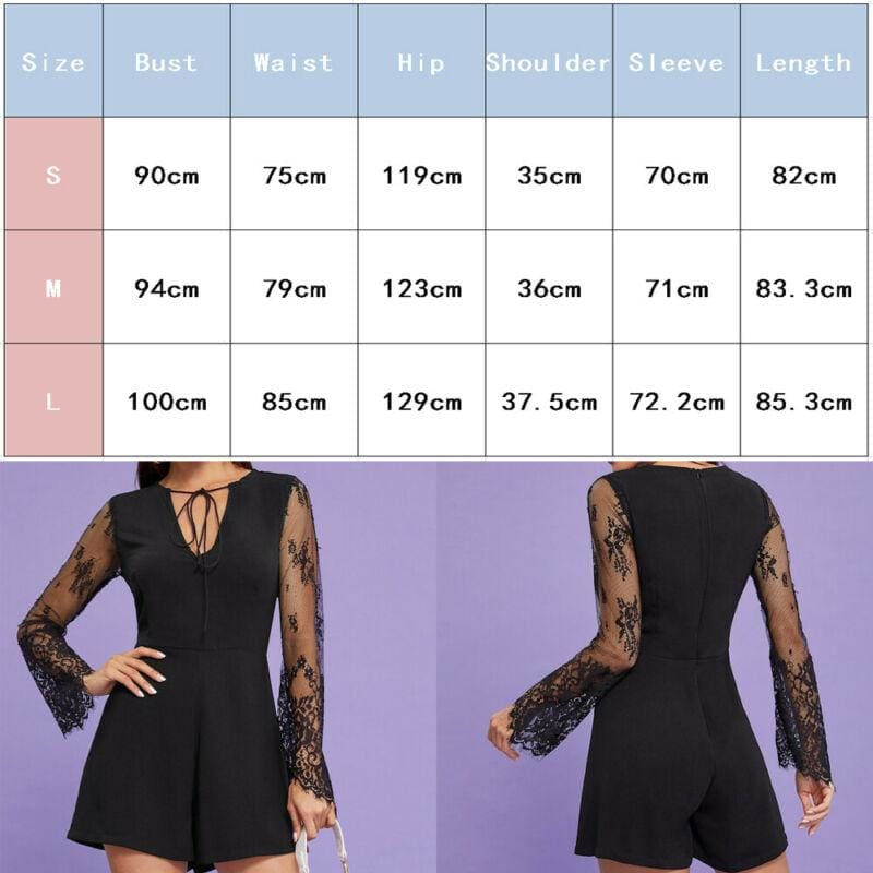 Summer Women V Neck Mesh Long Sleeve Bodycon Jumpsuit Fashion Ladies Slim Romper Casual Short Pants - Womens Clothing