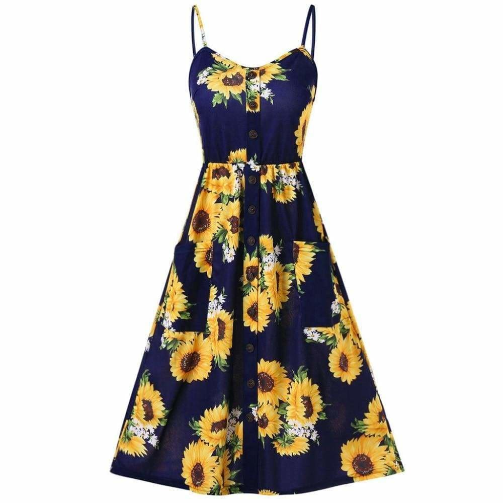 Sunflower Printing Button Up A Line Off Shoulder Sleeveless Dress - Womens Dresses
