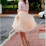 Tulle Skirt for Girls Fashion Tutu Skirts Women Solid Lace Ball Gown - Beige / One Size - Bottoms