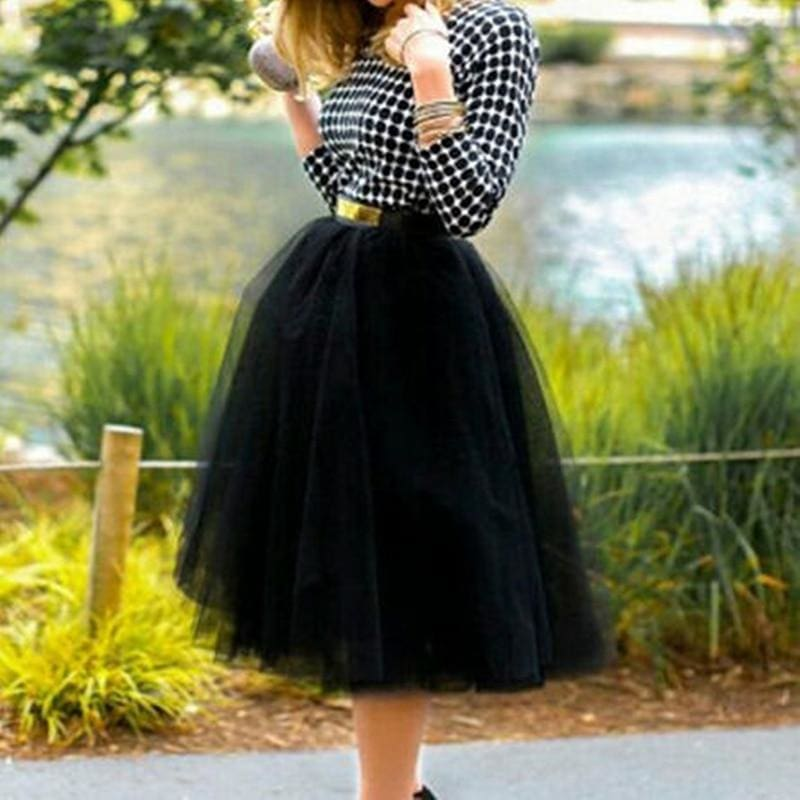Tulle Skirt for Girls Fashion Tutu Skirts Women Solid Lace Ball Gown - Black / One Size - Bottoms