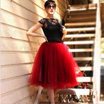 Tulle Skirt for Girls Fashion Tutu Skirts Women Solid Lace Ball Gown - Burgundy / One Size - Bottoms