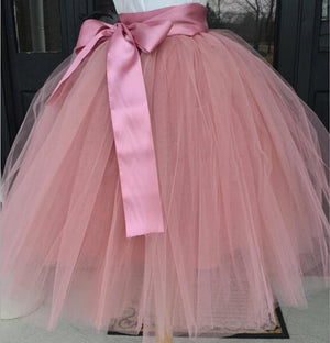 Tulle Skirt for Girls Fashion Tutu Skirts Women Solid Lace Ball Gown - Dark Pink / One Size - Bottoms
