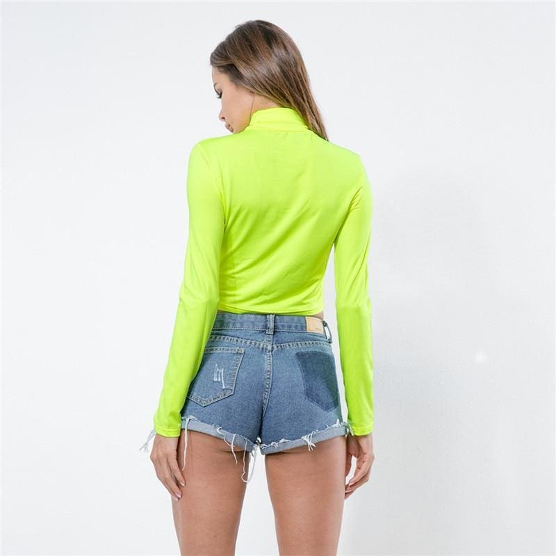 The Best Turtleneck Crop Long Sleeve Women Tops Candy Color Casual Tee Shirts Online - Source Silk