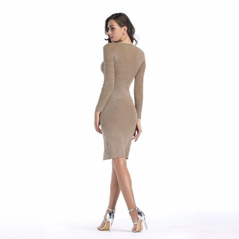 The Best V-neck long sleeve pencil skirt hem split knit dress Online - Source Silk